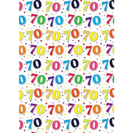 Simon Elvin - 24 hojas papel de regalo motivo 70 cumpleaños ...