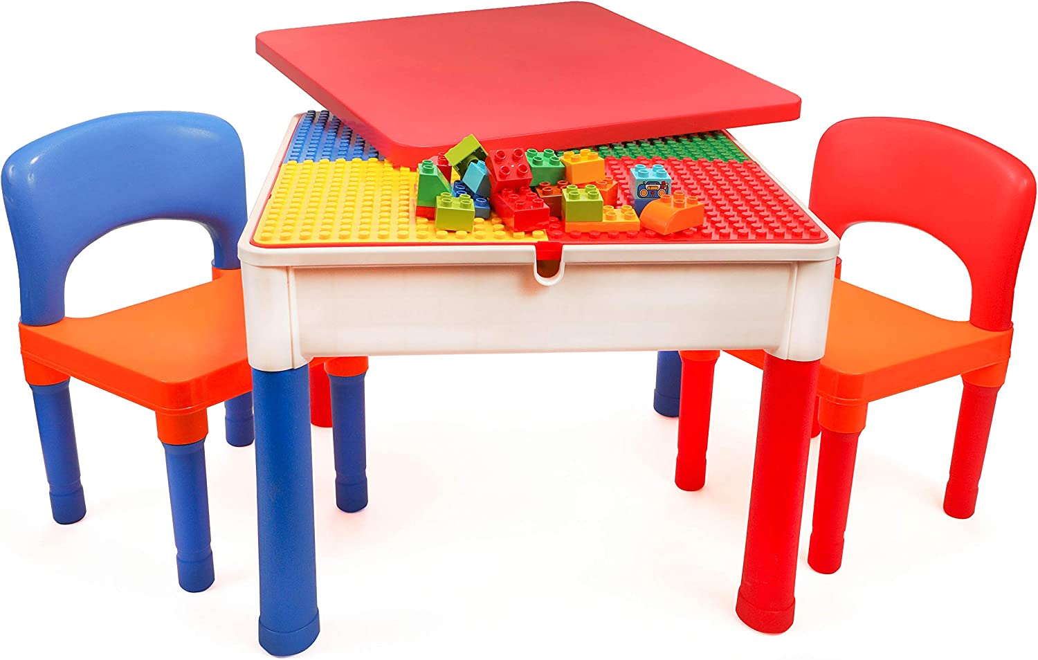 Amazon Com Smart Builder 3 In 1 Activity Table And Chair Set Craft Activities Construction And Building Blocks Compatible Table With Storage Area Kitchen Dining