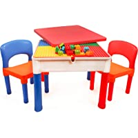 Smart Builder Toys 3 in 1 Activity Table with Removable Cover and Large Storage Area with 2 Chairs Set, Can be Used for…