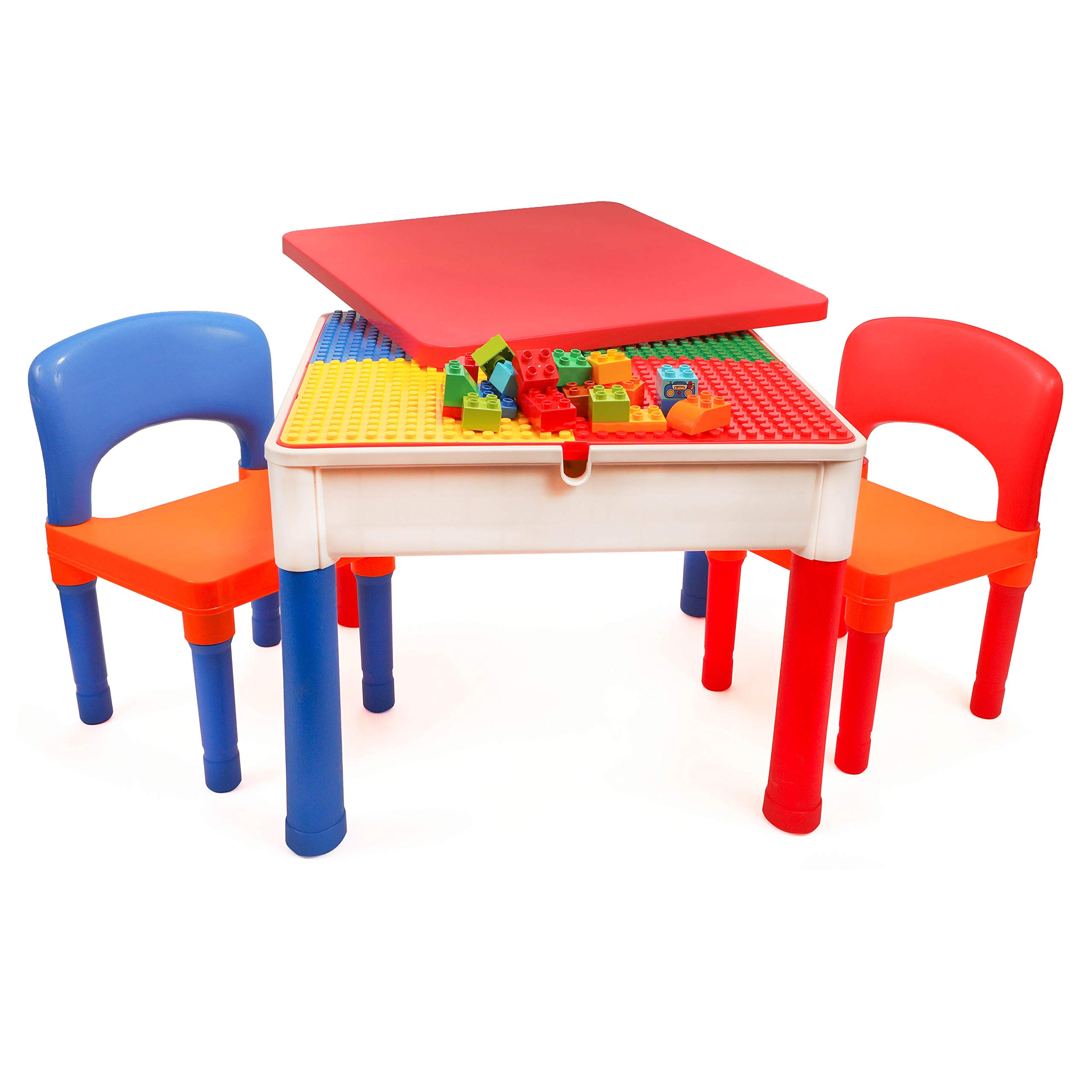 Smart Builder Toys 3 in 1 Major Brands Compatible Baseplate, Activity Table with Removable Cover and Large Storage Area with 2 Chairs Set, Can be Used for Large, and Small Building Bricks by Smart Builder Toys