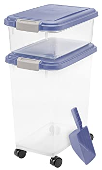 IRIS USA, Inc. 3- Piece Airtight Pet Food Storage Container Combo, Blue