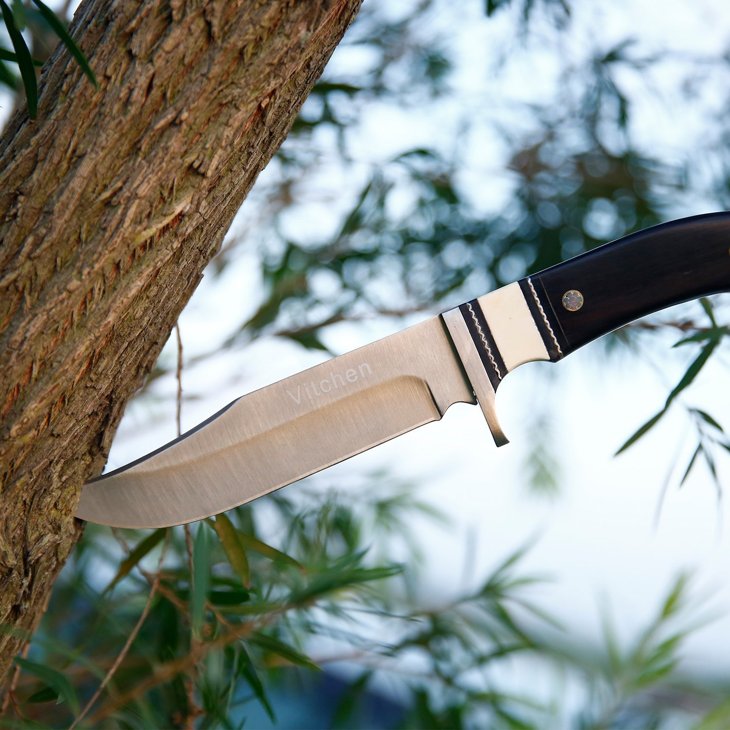 Fixed Blade Knife - Tactical Survival Knife Outdoor Hunting Knife with Leather Sheath, 440 Stainless Steel Blade