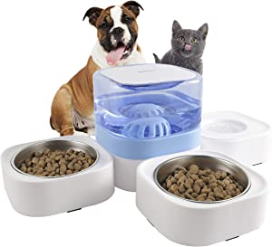 KIMPETS Cat Food and Water Bowl Set, 3-in-1 Detachable Cat Dog Bowl, No Plug in Blue Elevated Cat Bowl with 63.5 oz, Raised Dog&Cat Bowl with 2 Stainless Steel Cat Bowls, Cat Food Bowl for Indoor Cat