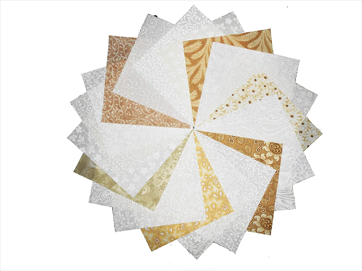 80 5 Inch Quilting Fabric Squares Cream and Sugar/Neutrals Charm Pack