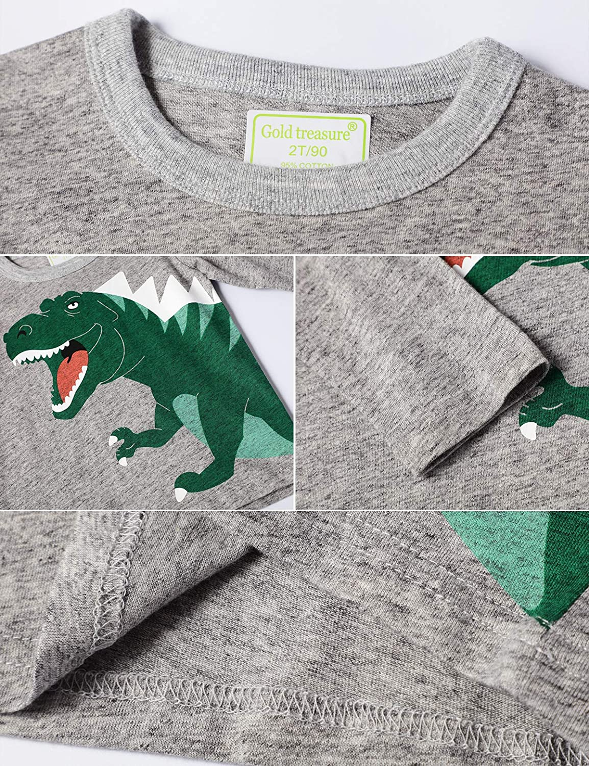 HMBEIXYP Toddler Boys 3-Pack Graphic Long-Sleeve T-Shirts Cotton Dinosaurs Shirts