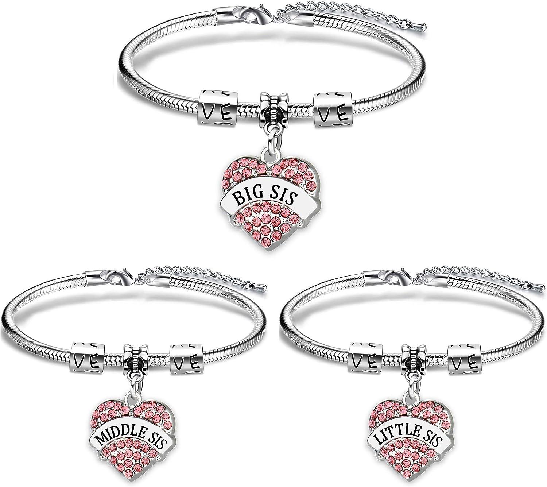 Pulsera AGR8T para hermana, regalos, mejor amigo, grande y mediano, con corazón de amor, joyería para mujeres, 3 piezas
