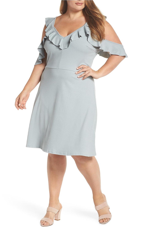 [ロストインク] レディース ワンピース LOST INK Cold Shoulder Ruffle Dress (Plu [並行輸入品] B07F31DQB4 2X