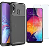 Abbeen Samsung Galaxy A30/A20 Case and Screen Protector, [2 in 1] Ultra-Thin Carbon Fiber Anti-Drop TPU Soft Shell +9H Tempered Glass ,for Samsung Galaxy A30/A20 Smartphone(Black)