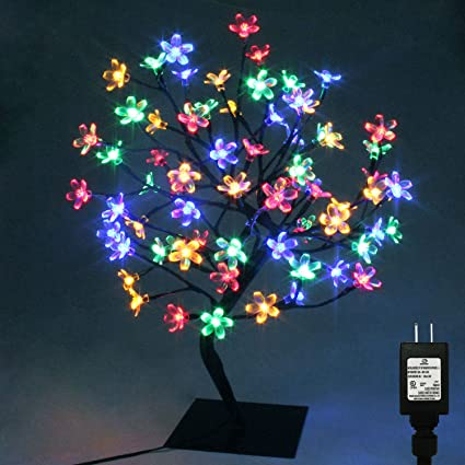 pms 17inch 72 leds cherry blossom desk top bonsai tree light with low voltage transformer