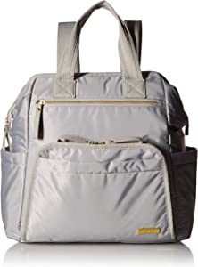 Skip Hop Diaper Bag Backpack, Mainframe Large Capacity Wide Open Structure, Cement with Gold Trim