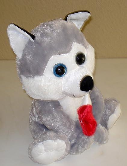 Husky Christmas Puppy.Amazon Com Siberian Husky Plush Puppy Holding A Christmas
