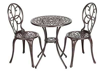 Amazon Com Patio Sense 61490 3 Piece Aluminum Bistro Set Antique