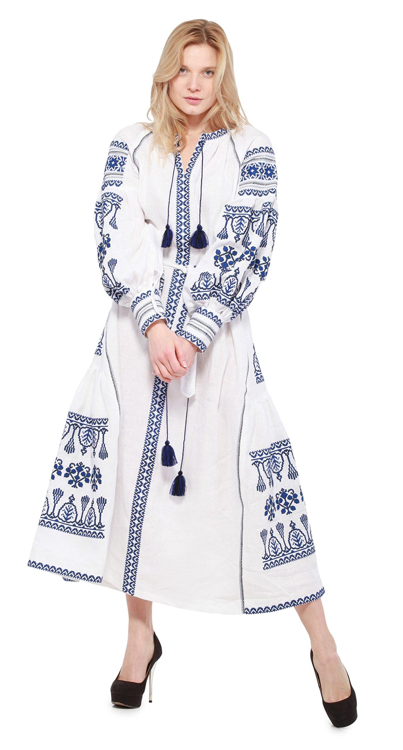 Boho Style Dress Embroidered Long Dress New Woman. Vyshyvanka Ukrainian (XXL, 130cm White)