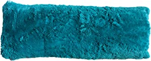 Brilliant Home Design Luxurious Faux Fur Body Pillow Cover with Long Hair, Removable with Sturdy Zipper Closure, Ultra Soft, Fits up to 20 X 54 Body Pillow (Multiple Colors Available) (Turquoise)