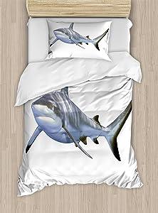 Ambesonne Shark Duvet Cover Set, Large Reef Shark Swimming Futuristic Computerrt Underwater Design, Decorative 2 Piece Bedding Set with 1 Pillow Sham, Twin Size, White Grey