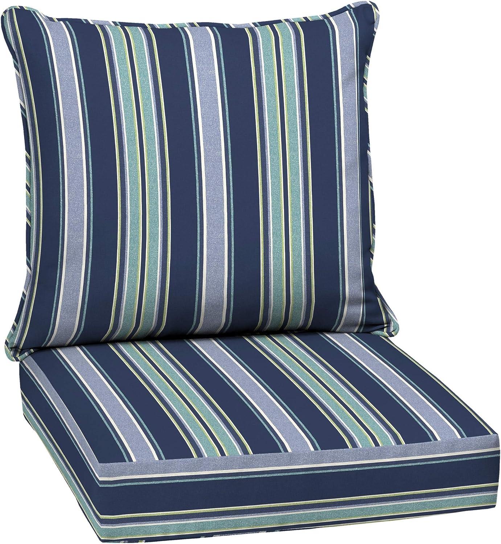 Amazon Com Arden Selections 24 X 24 Sapphire Aurora Stripe 2 Piece Deep Seating Outdoor Lounge Chair Cushion Garden Outdoor