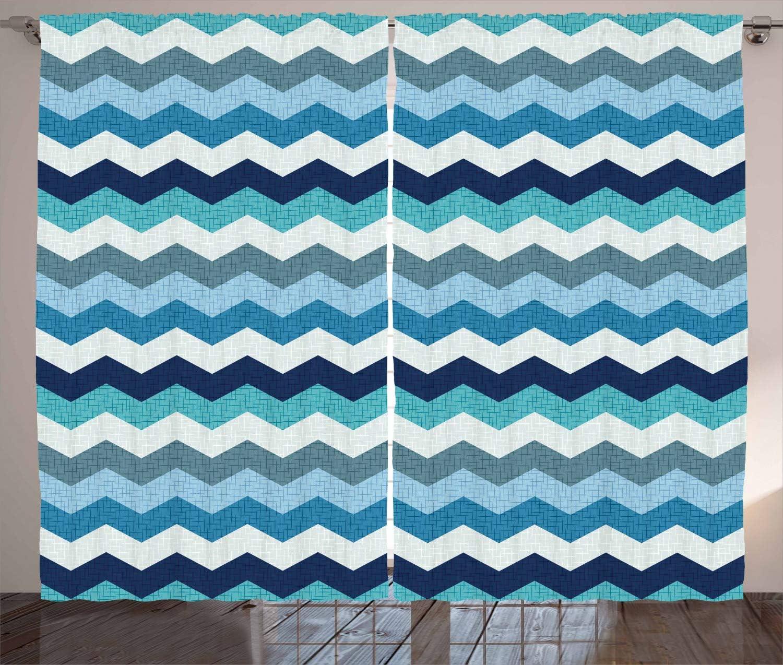 Ambesonne Aqua Curtains, Retro Vintage Chevron Geometrical Zig Zag Stripes, Living Room Bedroom Window Drapes 2 Panel Set, 108