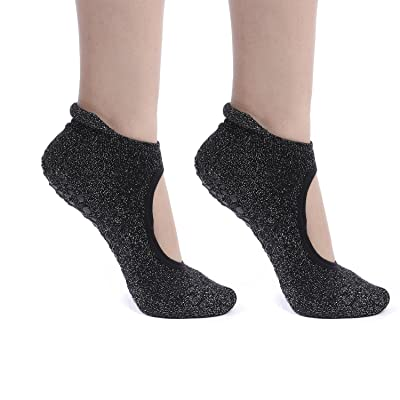 Non Slip Skid Women's Yoga Pilates Ballet Barre Socks with Grips Combed Cotton Low Cut Black One Size 5-10
