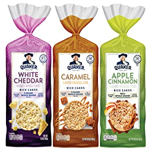 Quaker Large Rice Cakes, Gluten Free, 3 Flavor Variety Pack, 6 Count