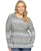 Lucky Brand Womens Plus Size Ombre Lace-Up Pullover