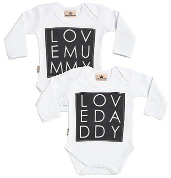 Amazon.com: Love Mummy y Love Daddy Babygrow – Pijama ...