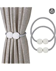 OOTSR Pearl Ball Window Holdbacks with Magnets for Blackout Curtains and Drapes - Classic European Curtain Magnetic Tieback for Home and Office Decoration (Gray)
