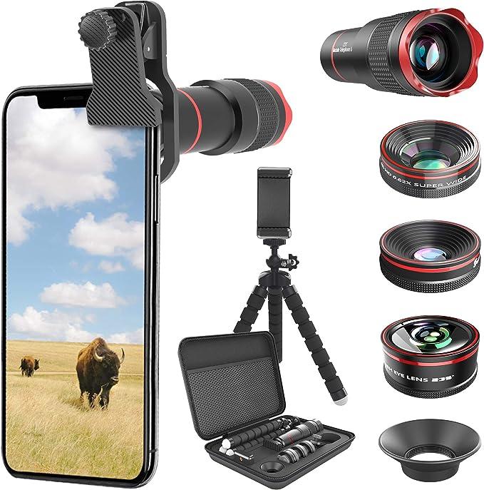 Selvim Kit Obbiettivi per Smartphone, Lente Macro 25x, Grandangolare 0.5X, Fisheye 235°, Zoom 22x, Che Funziona Anche Singolarmente da Telescopio e Supporto per Cellulare, Compatibilità Universale