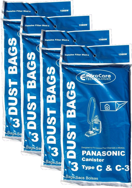 12 Panasonic Type C C-3 C3 Allergy Vacuum Bags, Canisters Vacuum Cleaners, MC-125P, MC125P, MC771, MC772, MC8310, MC8320, MC8330