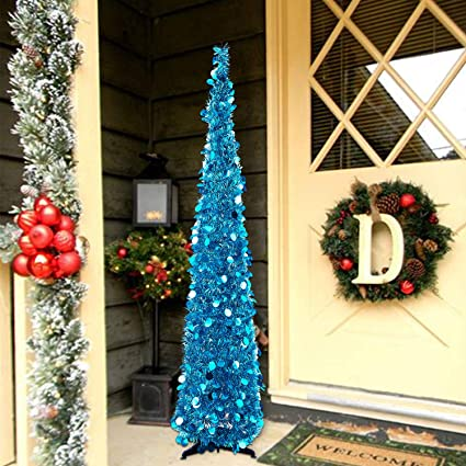 nt nieting christmas tree5ft collapsible pop up christmas tree blue tinsel coastal christmas tree - Pop Up Christmas Tree With Lights And Decorations