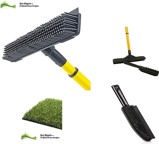 Juego de cepillos para césped artificial cepillo de mano para césped artificial, césped y tenis 3