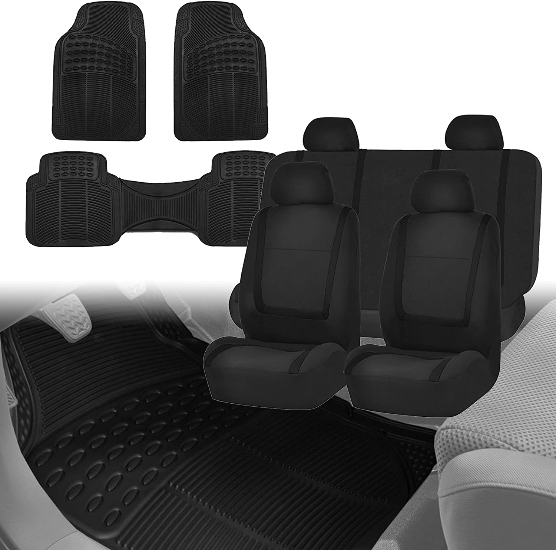 FH Group FH-FB032114 Unique Flat Cloth Car Seat Covers, Solid Black Color with F11306 Black Vinyl Floor Mats, Solid Black Color- Fit Most Car, Truck, SUV, or Van