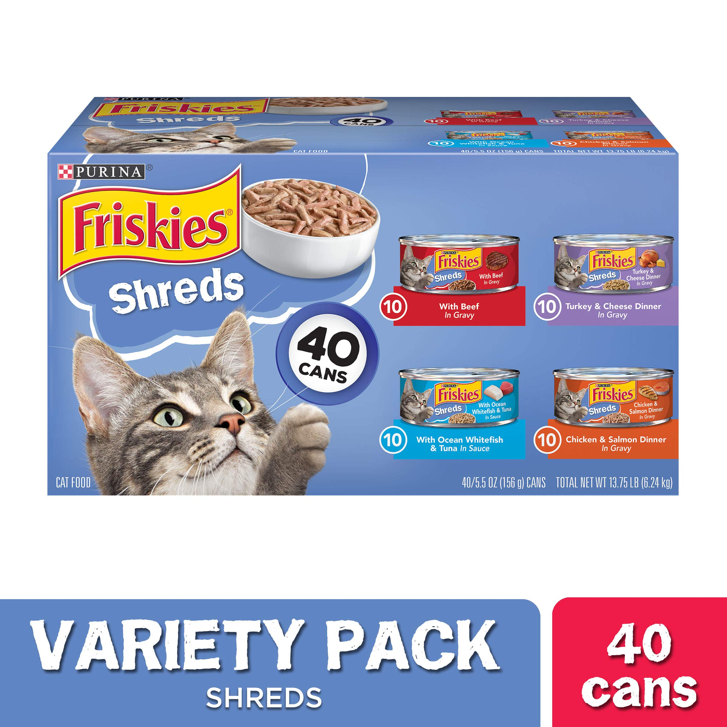 Purina Friskies Wet Cat Food Variety Pack, Shreds Beef, Turkey, Whitefish, and Chicken & Salmon - (40) 5.5 oz. Cans by Purina Friskies