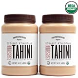 Pepperwood Organic Stone-Ground Ethiopian Sesame Tahini Paste, Hulled, Unsalted, Non-GMO, Gluten-Free, Kosher, Vegan, USDA Organic, Peanut-Free, 14 Ounce (2-Pack)