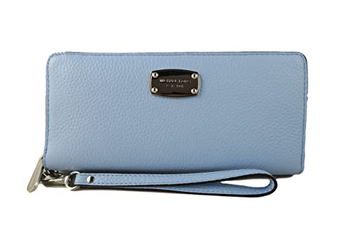 64a0e29544bb Michael Kors Leather Jet Set Travel Continental Zip Around Wallet Wristlet (Light  Sky)