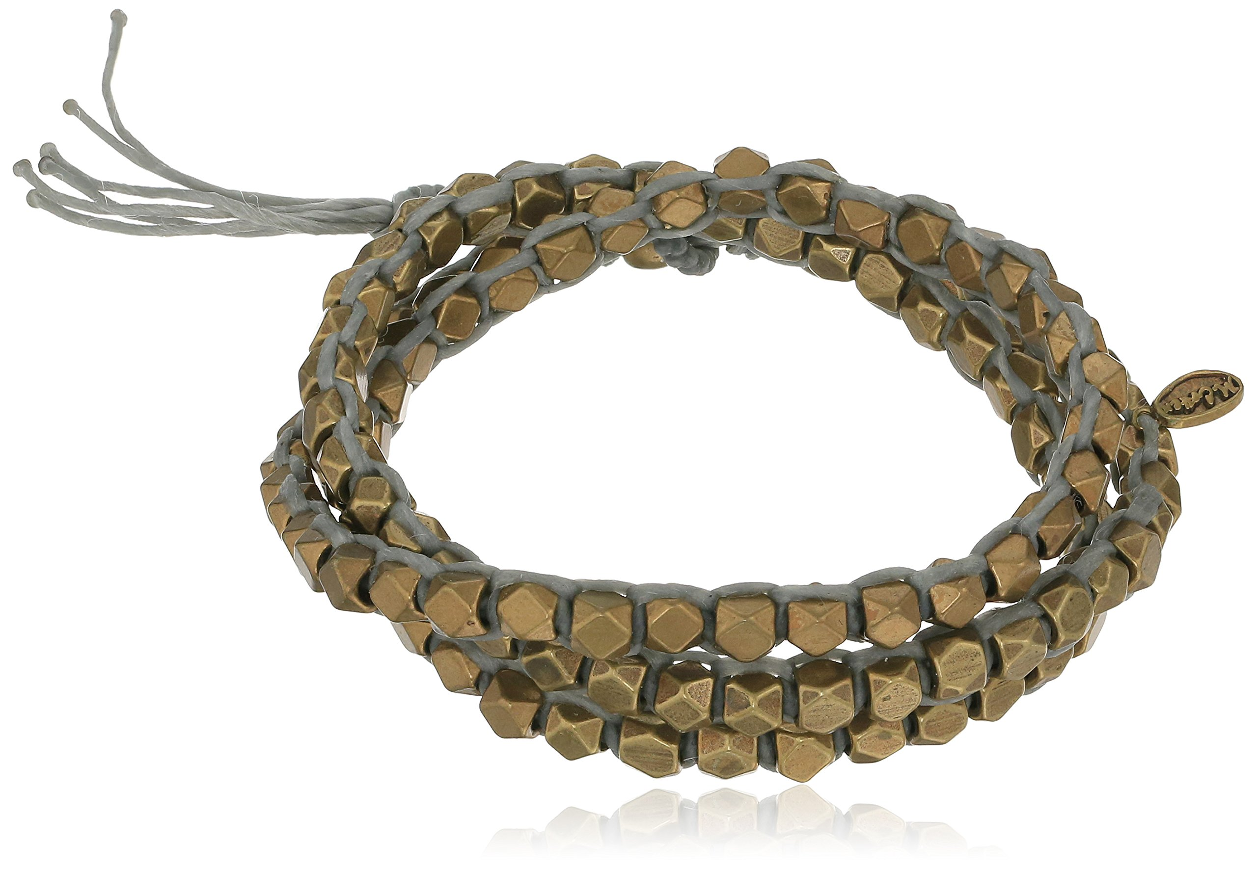 M. Cohen Handmade Designs Triple Layer Wrap with Cornerless Brass Bead on Grey Wax Cord, 23''
