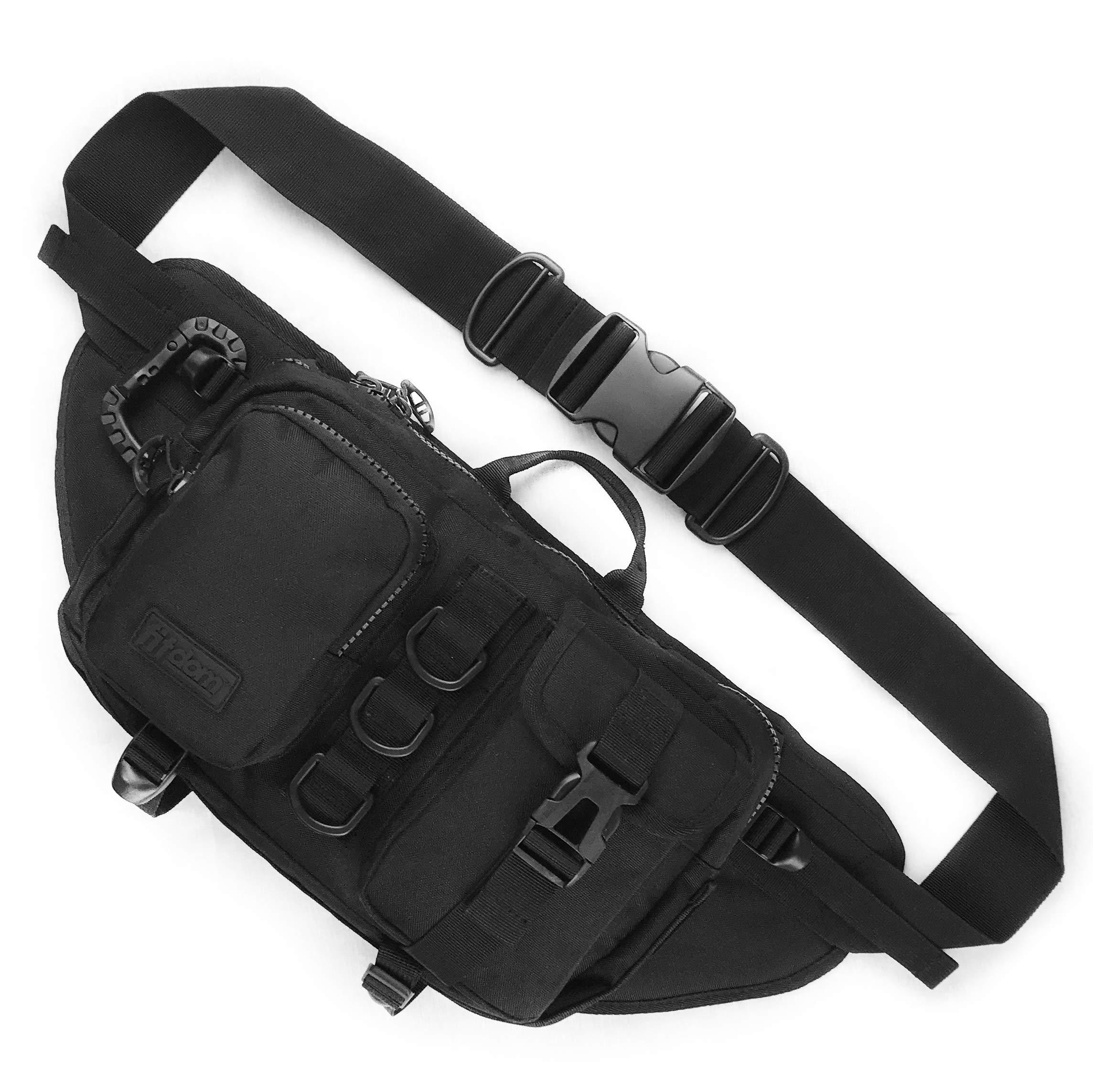 Fitdom Large Multiple Purpose Waist Sling Bag (Jet Black) by Fitdom