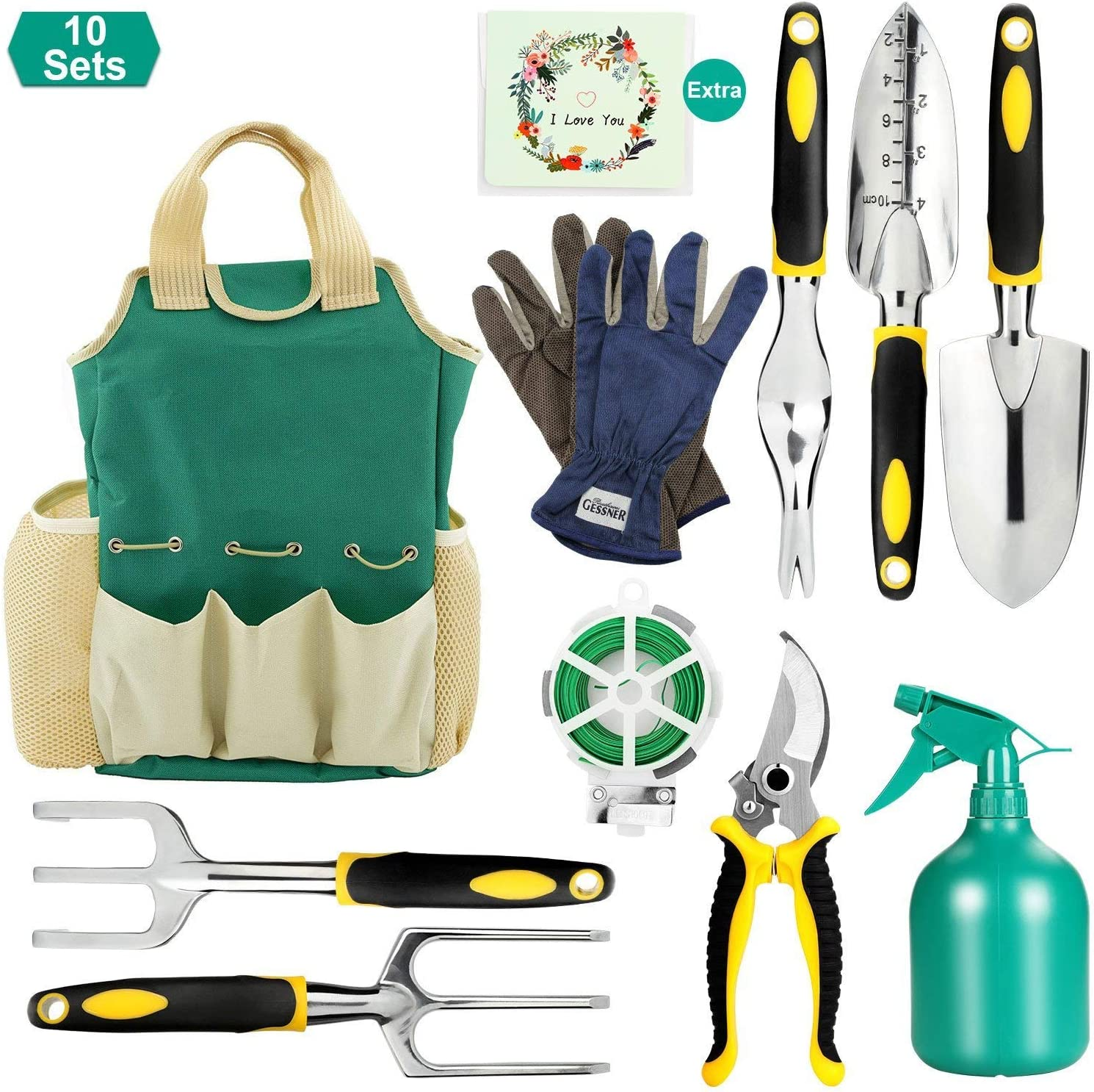 FITNATE Garden Tool Set, 10PCS Gardening Tools with Garden Storage Bag, Plant Rope, Soft Gloves, Watering Can, Garden Shear 5pcs Garden Planting Tools with Gift Card