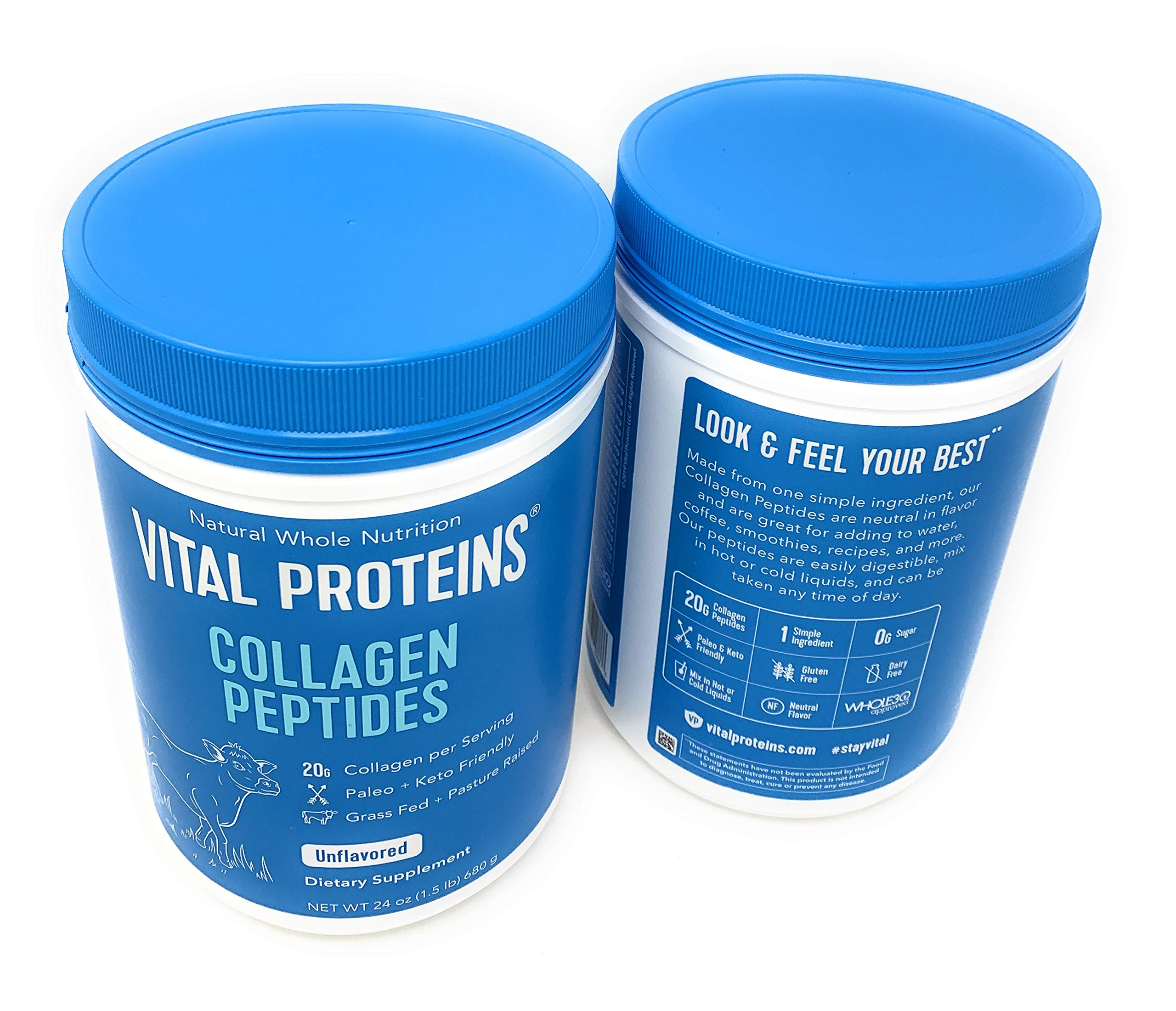 Vital Proteins Collagen Peptides - Pasture Raised, Grass Fed, Paleo Friendly, Gluten Free, Single Ingredient (20 oz, 2 Pack) by Vital Proteins (Image #1)