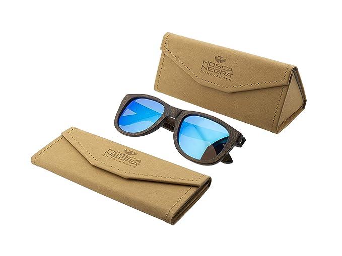 Gafas de sol madera MOSCA NEGRA modelo BROWN BAMBOO and Blue ...