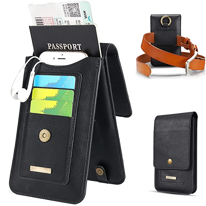 921d0c44ce45 Passport Holder Travel Wallets for Men with Belt Loop Waist Bag for Charger Credit  Cards Black