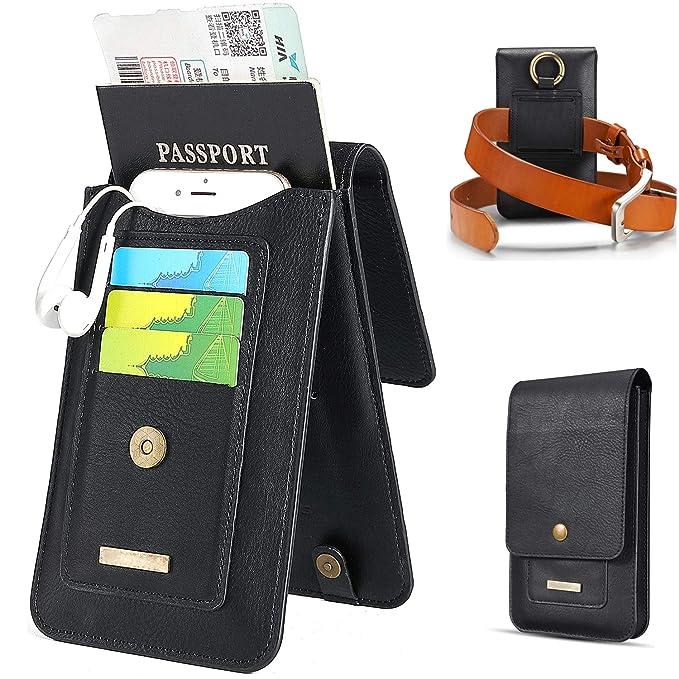 08055b17e5 Passport Holder Travel Wallets for Men with Belt Loop Waist Bag for Charger  Credit Cards Black