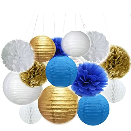 fascola set of 14 whitegoldroyal blue beach themed party - Royal Blue And Gold Christmas Decorations