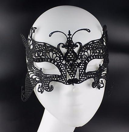 Encaje sexy gran máscara de mariposa amorfo hueco,fiesta de Navidad Gafas,negro