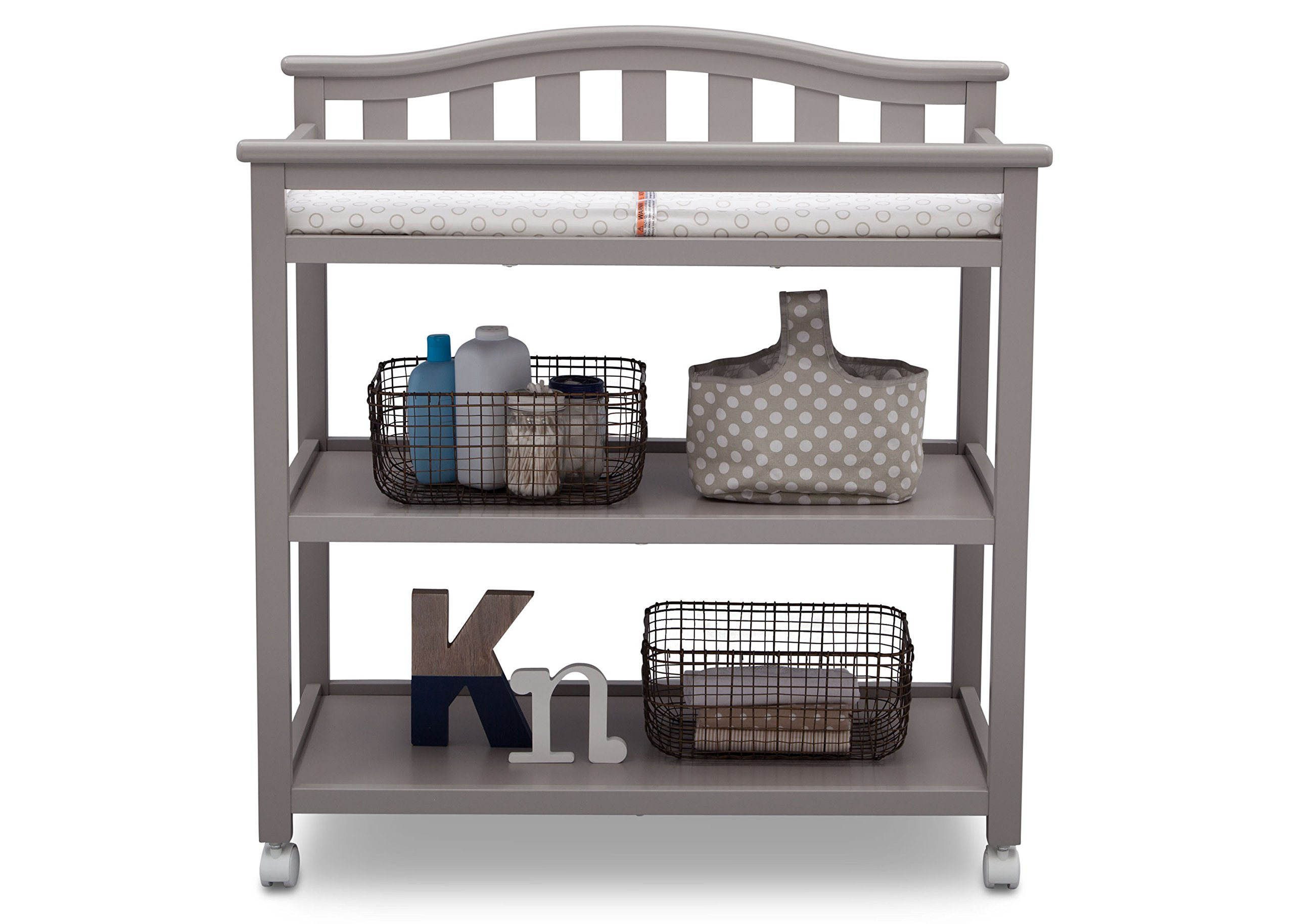 Delta Children Bell Top Changing Table with Casters, Grey by Delta Children (Image #5)