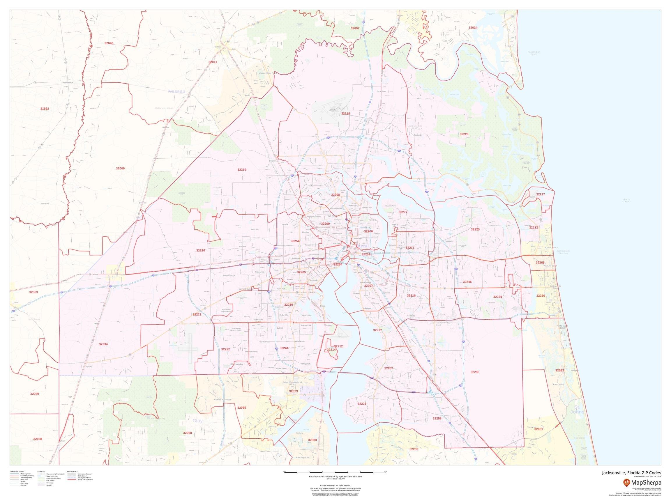 Jacksonville, Florida Zip Codes - 48'' x 36'' Laminated Wall Map