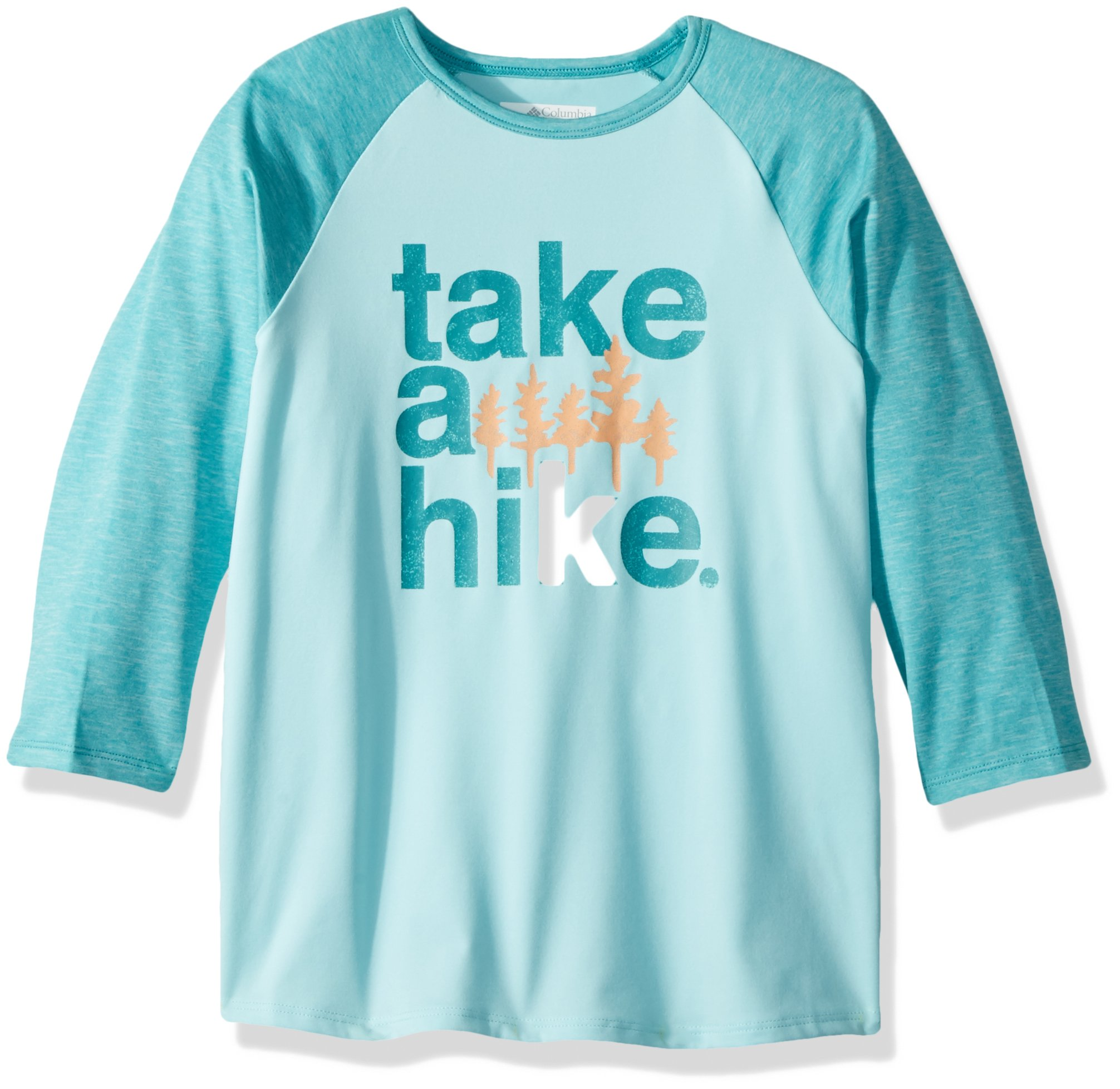 Columbia Boys Outdoor Elements 3/4 Sleeve Shirt, Candy Mint Hike Graphic, X-Small by Columbia