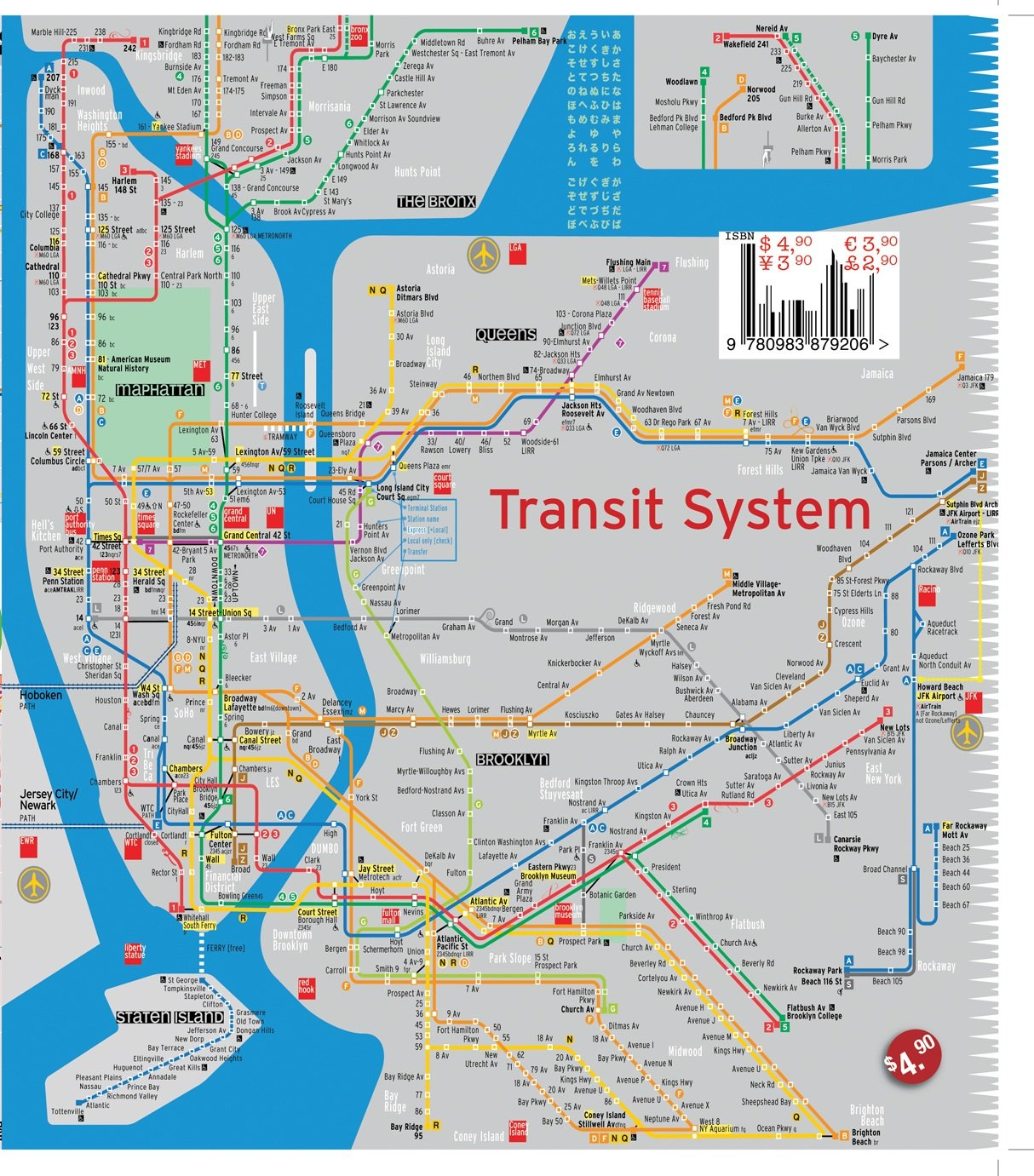 TerraMaps NYC Manhattan Street And Subway Map Waterproof POCKET - New york subway map with streets