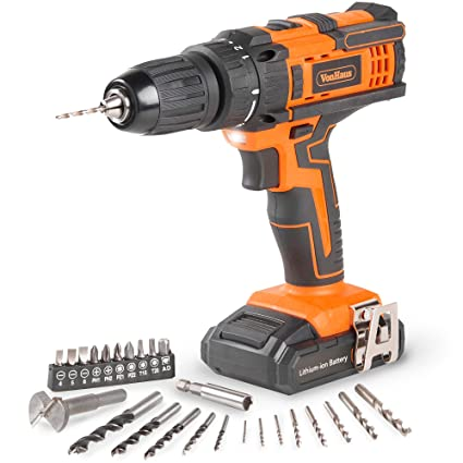VonHaus Cordless 18V Drill Driver with 1500mAh Li-ion Battery, Charger,  26pc Drill Bit Set - 35Nm Torque with LED Work Light Two Speed Transmission  &