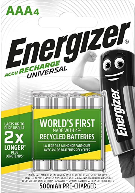 Oferta amazon: Energizer - Pilas Recargables Accu Recharge Universal 500 mAh HR03 AAA, 4 Pilas, Plata
