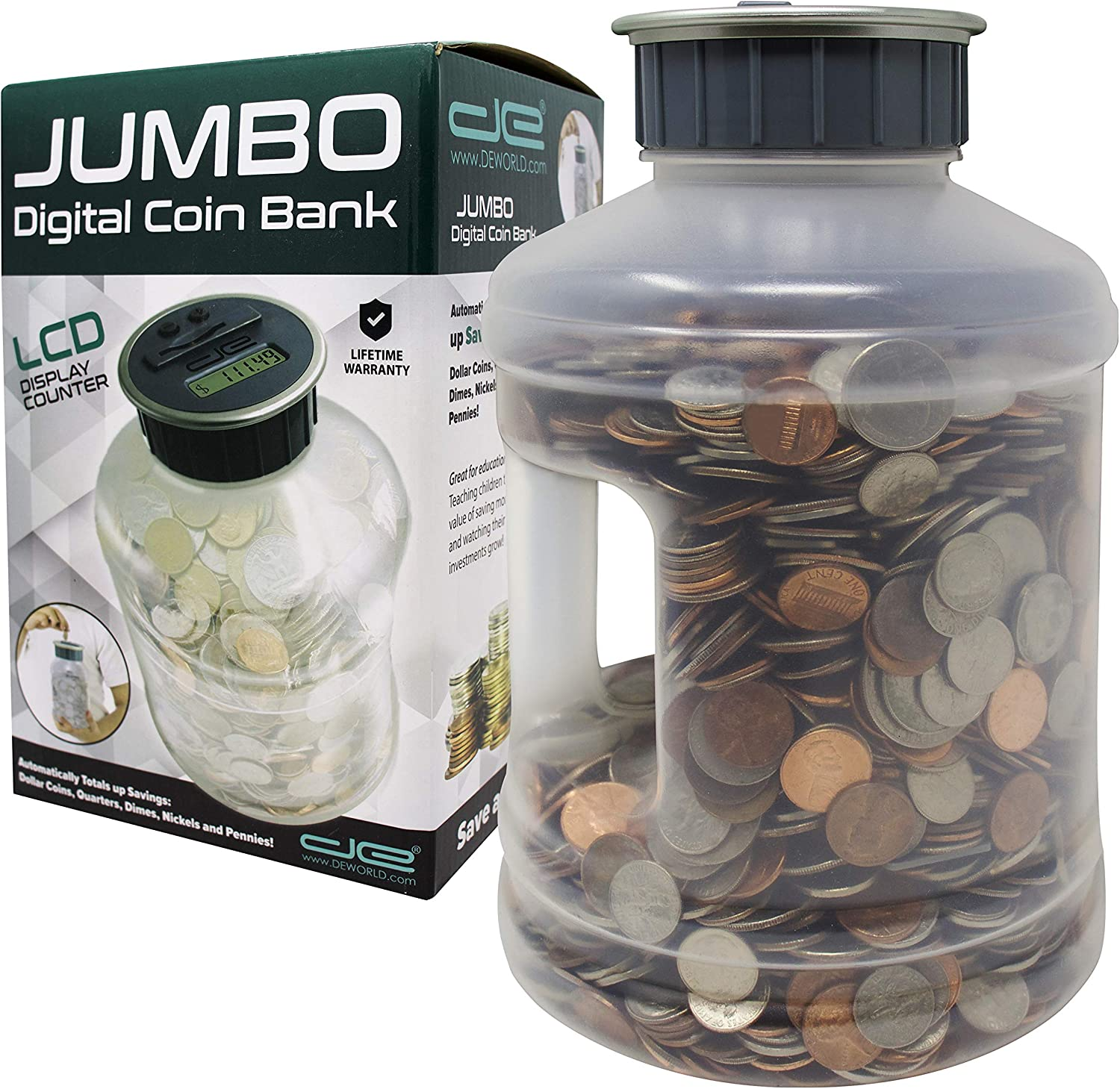 Jumbo Digital Coin Counter Bank - Extra Large Savings Jar for Pennies Nickles Dimes Quarters Half Dollar and Dollar Coins | Clear Jar w/LCD Display
